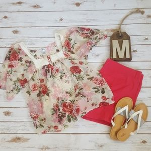 Pinky sheer floral baby doll short sleeve blouse